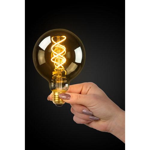Lucide E27 Retro Filament LED Ø 9.5 cm - LED Dim. - E27 - 1x5W 2200K - Fumé