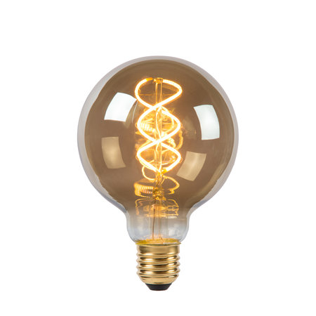 Lucide E27 Retro Filament LED Ø 9,5 cm - LED Dimb. - E27 - 1x5W 2200K - Fumé