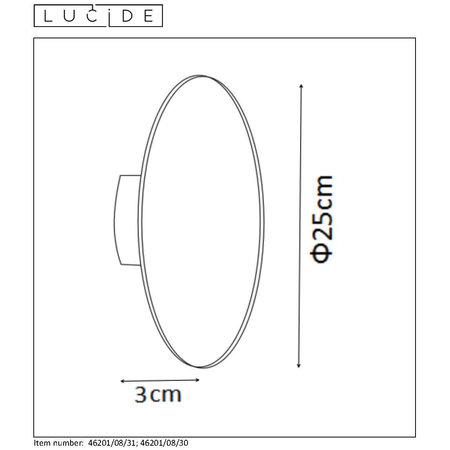 Lucide EKLYPS LED - Applique - Ø 25 cm - LED - 1x8W 3000K