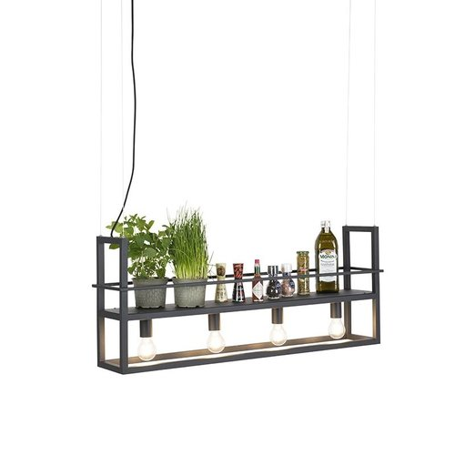 QAZQA Cage - Large hanging lamp - 4 lights - H 1500 mm - Black
