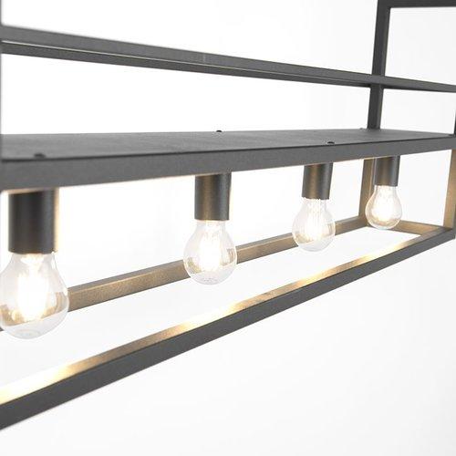 QAZQA Cage - Large hanging lamp - 4 lights - H 1500 mm - Black