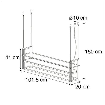 QAZQA Cage - Grote hanglamp - 4 lichts - H 1500 mm - Zwart