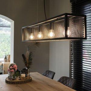QAZQA Cage - Industrial hanging lamp - mesh - H 1200 mm - Black