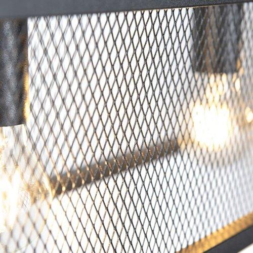 QAZQA Cage - Industriële hanglamp - gaas - H 1200 mm - Zwart