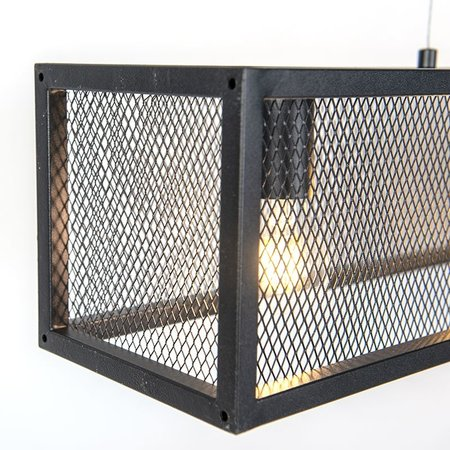 QAZQA Cage - Industrial hanging lamp - wire mesh - H 1200 mm - Black