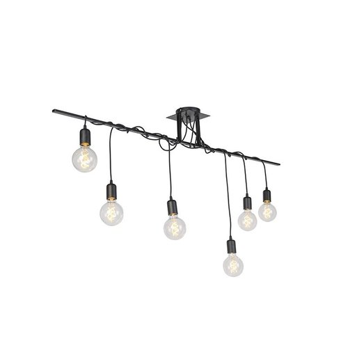 QAZQA Facile - Modern hanging lamp - twisted cables - H 800 mm - Black