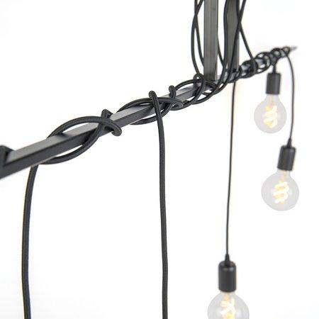 QAZQA Facile - Lampe à suspension moderne - Câbles torsadés - H 800 mm - Noir