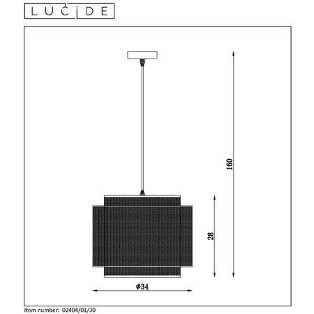 Lucide ORRIN - Suspension - Ø 34 cm - E27 - Noir - 02404/01/30