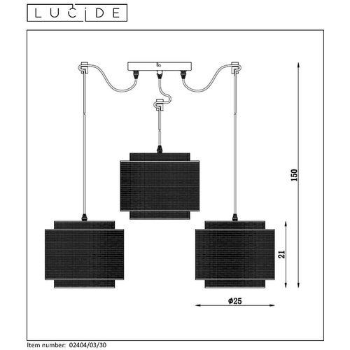 Lucide ORRIN - Suspension - Ø 34 cm - E27 - Noir - 02404/03/30
