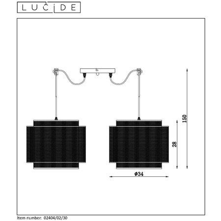 Lucide ORRIN - Suspension - Ø 34 cm - E27 - Noir - 02404/02/30