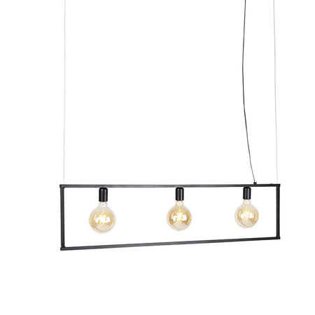 QAZQA Lampe suspension moderne 3 lumières 120cm E27 noire - Simple Cage - 97941