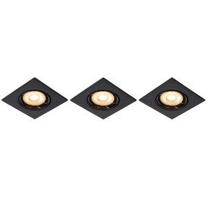 Lucide FOCUS - Inbouwspot - LED Dimb. - GU10 - 3x5W 3000K - Zwart - Set van 3