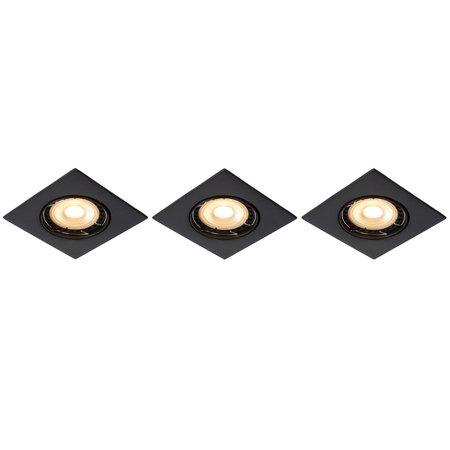 Lucide FOCUS - Spot encastré - LED Dimb. - GU10 - 3x5W 3000K - Noir - Ensemble de 3