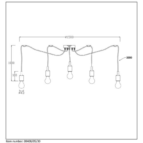 Lucide Vintage hanging lamp Fix multiple 08408/05/30