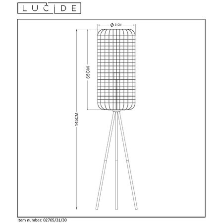Lucide ESMEE - Lampadaire - Ø 31 cm - E27 - Noir - 02705/31/30