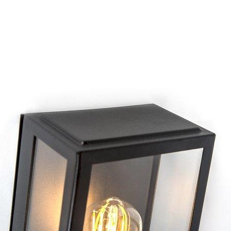 QAZQA Vintage Wandlamp ROTTERDAM 1 Zwart  met bewegingsmelder