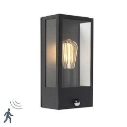 QAZQA Vintage Wall lamp ROTTERDAM 1 Black with motion detector