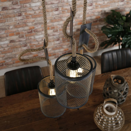 LioLights Vintage Hanging lamp 3xØ20 mesh rope stepped