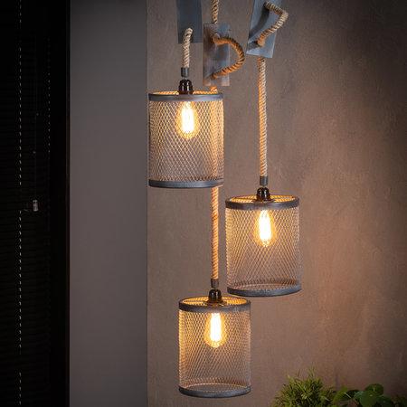 LioLights Lampe suspendue vintage 3xØ20 corde corde renforcée