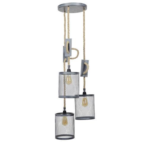 LioLights Vintage Hanglamp 3xØ20 mesh touw getrapt
