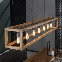 LioLights Vintage Hanglamp 7L rechthoek houten frame