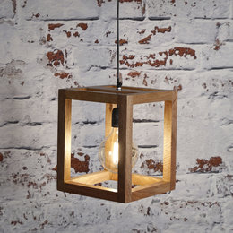 LioLights Vintage hanging lamp 1x wooden frame