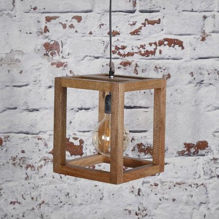 LioLights Suspension vintage 1x cadre en bois