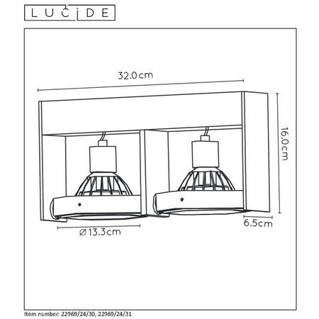 Lucide GRIFFON - Plafondspot - LED Dim to warm - GU10 - 2x12W 3000K/2200K - Zwart