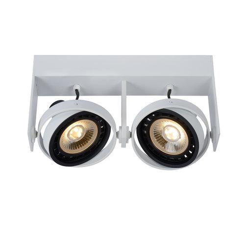 Lucide GRIFFON - Spot de plafond - LED à faible intensité - GU10 - 2x12W 3000K / 2200K - Blanc