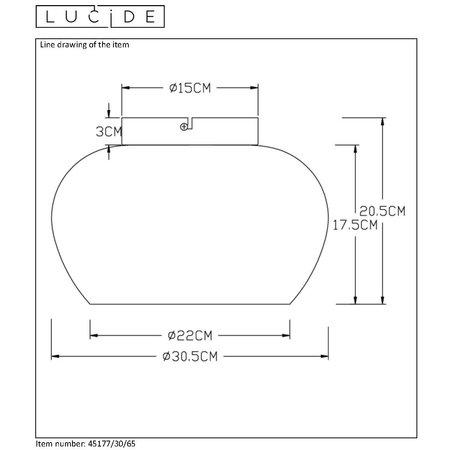 Lucide JUDI - Plafonnier - Ø 30,5 cm - E27 - Fumé 45177/30/65