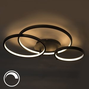 QAZQA Ceiling lamp Rondas LED black 94114