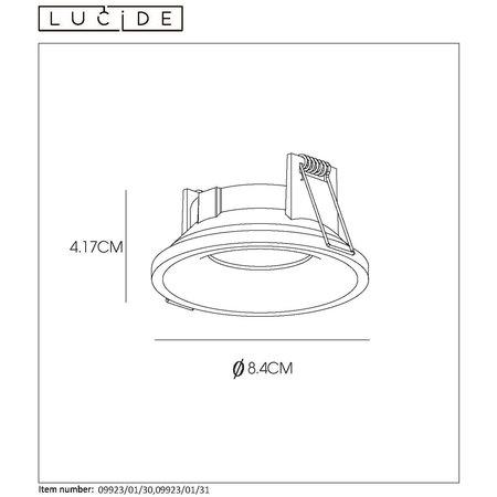 Lucide ZIVA - Inbouwspot Badkamer - Ø 8,5 cm - GU10 - IP44 - Wit - 09923/01/