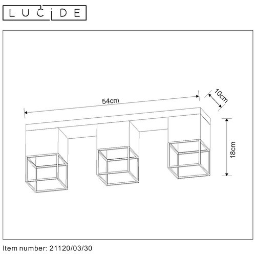 Lucide RIXT - Ceiling light - E27 - Black - 21120/03/30