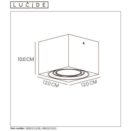 Lucide FEDLER - Plafondspot - LED Dim to warm - GU10 - 1x12W 3000K/2200K - Zwart - 09922/12/30