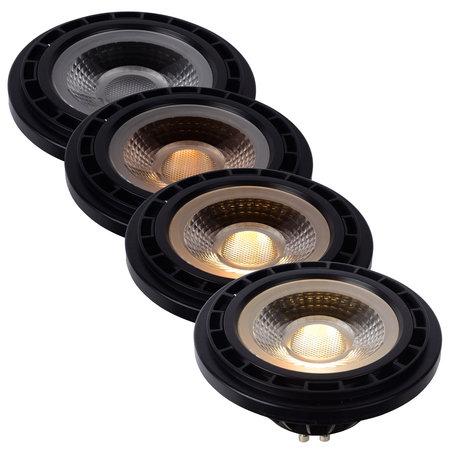 Lucide AMPOULE LED - Lampe à LED - Ø 11 cm - Dim à chaud pour LED - GU10 - 1x12W 3000K / 2200K - Noir
