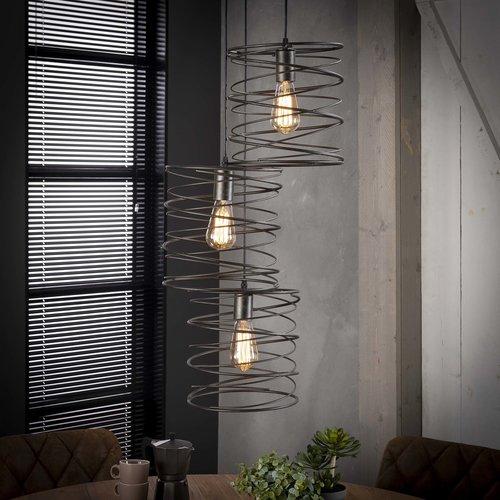 LioLights Lampe à suspension vintage 3x curl à gradins