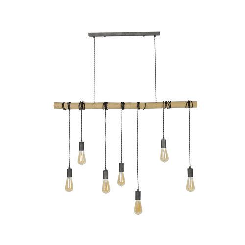 LioLights Vintage Hanglamp 7L bamboo wikkel
