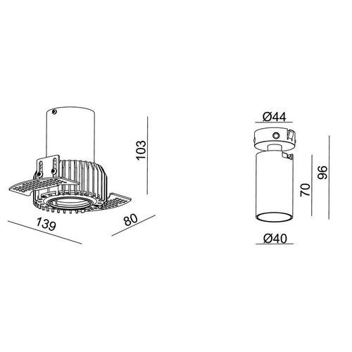 Absinthe LED Recessed spot Tuup Mini RC Trimless black
