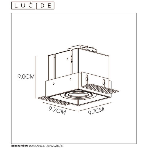 Lucide TRIMLESS - Spot encastré - GU10 - Noir - 09925/01/30