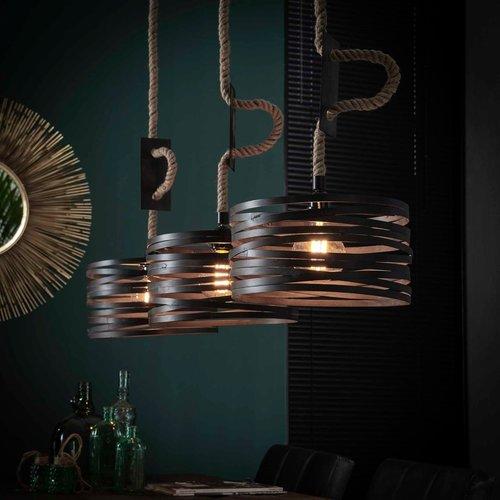 LioLights Vintage hanging lamp 3xØ30 twist adjustable rope