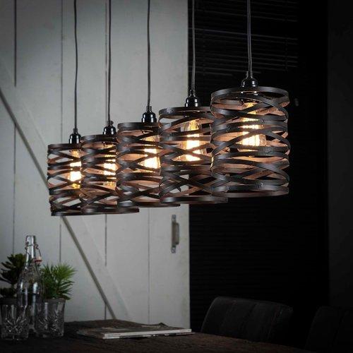 LioLights Vintage Hanglamp 5x ø17 spindle