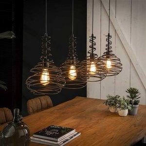 LioLights Vintage Hanglamp 4x Ø25 kegel spinn
