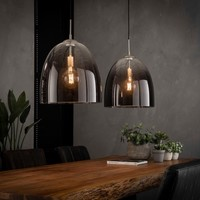 Hanging lamp 2xØ40 shaded oval glass