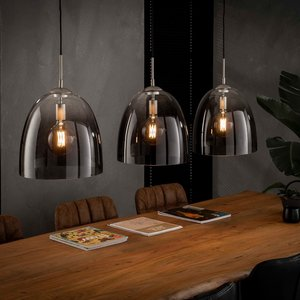 LioLights Hanging lamp 3xØ33 shaded oval glass
