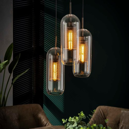 LioLights Hanging lamp 4xØ15 glass / perforated steel