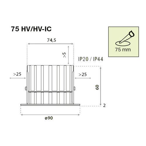 LED Inbouwspot LINEA 75 HV-IC 900Lm DIM