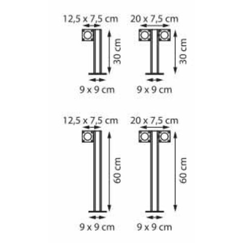 Royal Botania Q-bic 60 garden pole Teak / polished stainless steel