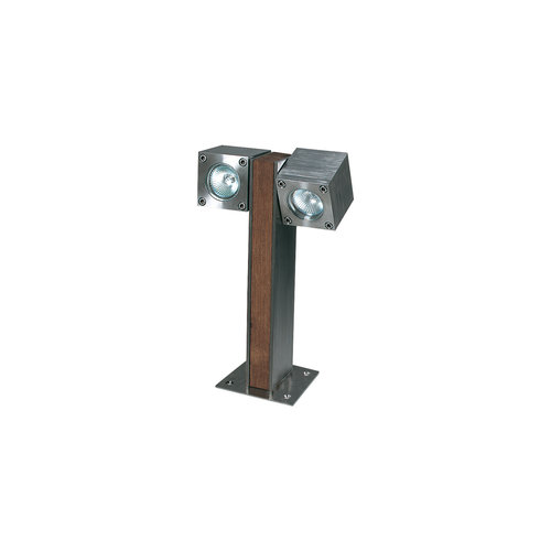 Royal Botania Q-bic 30 bollard Teak / Polished stainless steel