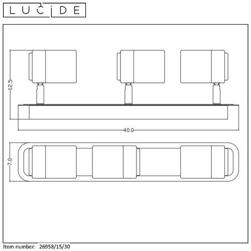 Lucide LENNERT - Spot mural de salle de bain - LED Dimb. - GU10 - 3x5W 3000K - IP44 - Noir