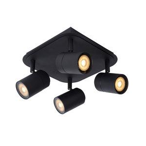 Lucide LENNERT - Wandspot Badkamer - LED Dimb. - GU10 - 4x5W 3000K - IP44 - Zwart